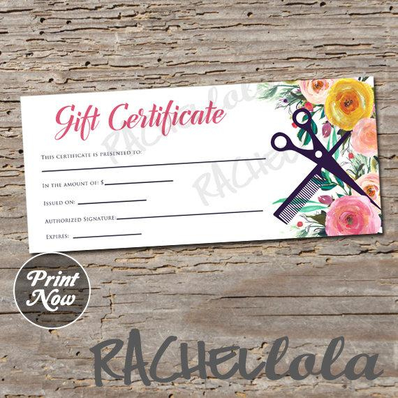 Printable Hair Salon Gift Certificate Template, Hair Stylist Gift Voucher,  Gift Card, Instant Download, Mothers Day, Birthday, Floral Spring with regard to Best Salon Gift Certificate