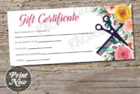 Printable Hair Salon Gift Certificate Template, Hair Stylist Gift Voucher,  Gift Card, Instant Download, Mothers Day, Birthday, Floral Spring within Unique Hair Salon Gift Certificate Templates