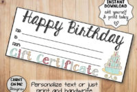 Printable Happy Birthday Gift Certificates with regard to Birthday Gift Certificate