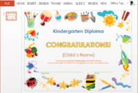 Printable Kindergarten Diploma Template For Powerpoint pertaining to Kindergarten Completion Certificate Templates