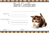 Printable Kitten Birth Certificate Free 1 In 2020 | Cat within Cat Adoption Certificate Template 9 Designs