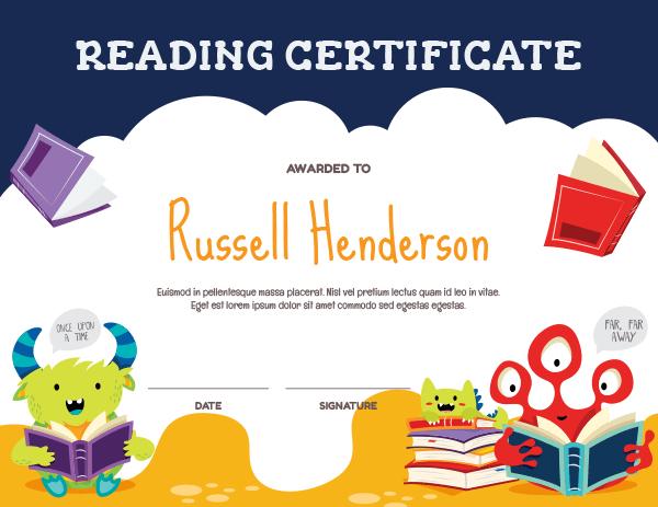 Printable Monster Reading Award Certificate Template Within Reader Award Certificate Templates