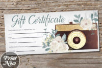 Printable Photography Gift Certificate Template Photo intended for Photography Session Gift Certificate