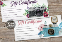 Printable Photography Gift Certificate Template, Photo Session Voucher,  Spring, Mothers Day, Christmas, Instant Download, Photographer for Fresh Photography Session Gift Certificate