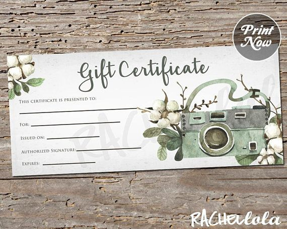 Printable Photography Gift Certificate Template, Spring in Unique Printable Photography Gift Certificate Template