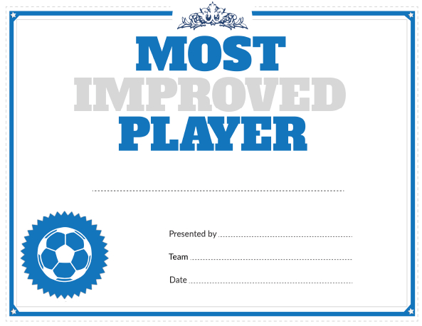 Printable Soccer Most Improved Player Award Within Most Improved Player Certificate Template