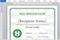 Printable Sports Certificate Template For Word for Best Athletic Award Certificate Template