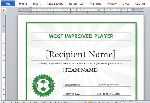 Printable Sports Certificate Template For Word with regard to 10 Sportsmanship Certificate Templates Free