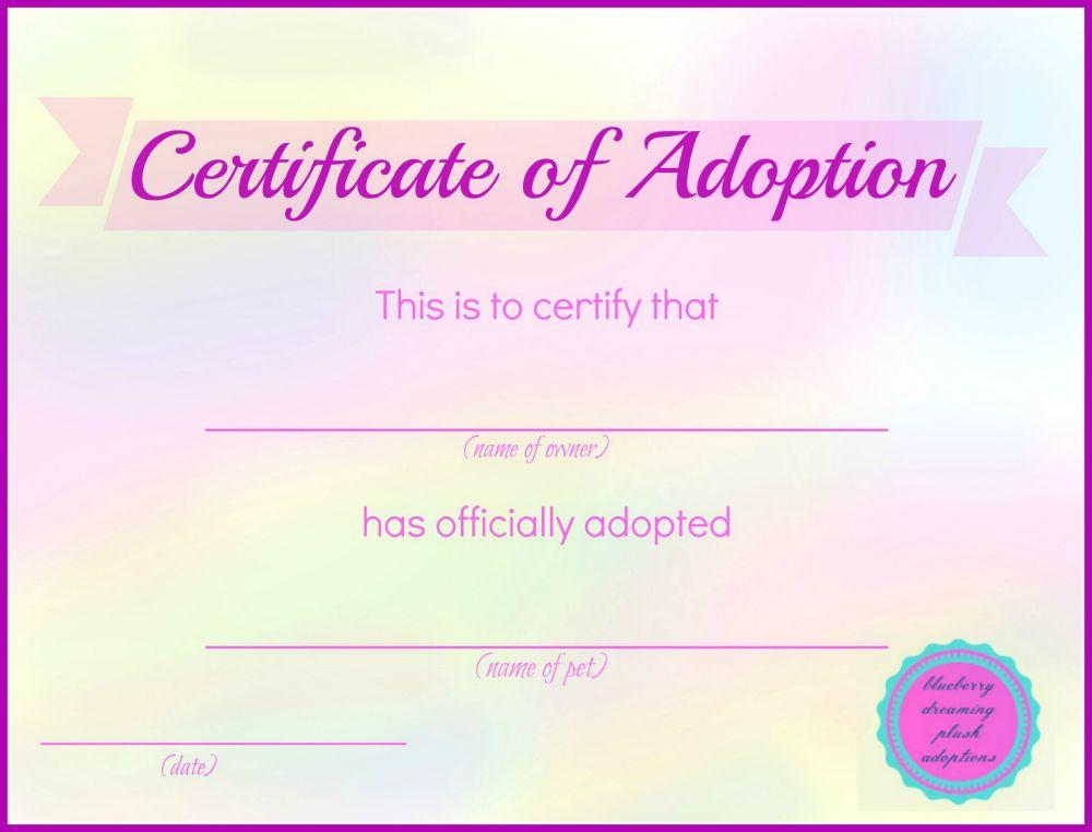 Printable Stuffed Animal Adoption Certificates   Adoption Throughout Unique Stuffed Animal Adoption Certificate Template Free