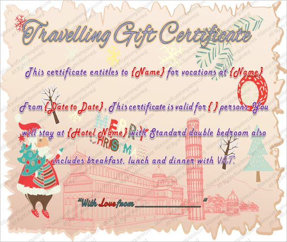 Printable Travel Gift Certificate Template – Word Pdf Psd Intended For Fresh Travel Gift Certificate Editable