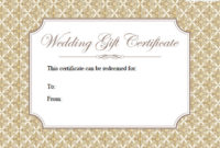 Printable Wedding Gift Certificates | Lovetoknow in Unique Free Editable Wedding Gift Certificate Template
