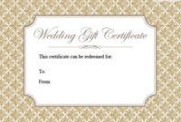 Printable Wedding Gift Certificates | Lovetoknow pertaining to Fresh Wedding Gift Certificate Template