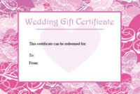 Printable Wedding Gift Certificates | Lovetoknow regarding Unique Free Editable Wedding Gift Certificate Template