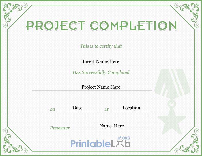 Project Completion Certificate Template In Highland, Silver Throughout Completion Certificate Editable