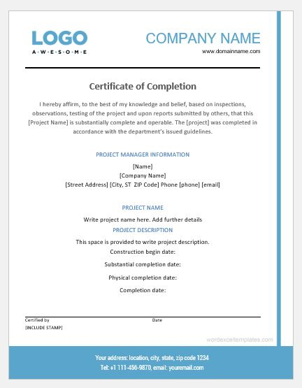 Project Completion Certificate Templates | Word & Excel Inside Unique Certificate Of Construction Completion Template