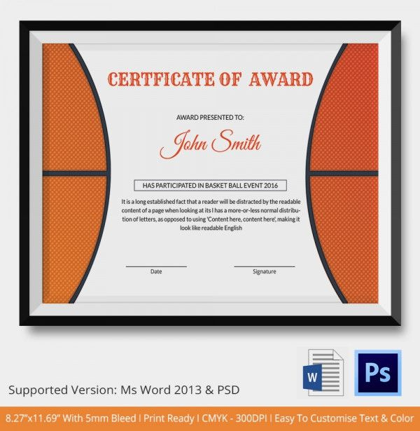 Psd | Free & Premium Templates | Basketball Awards, Awards regarding Baseball Certificate Template Free 14 Award Designs