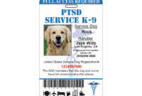 Ptsd Service Dog Id Card Ada Tag Badge Professional Custom throughout Best Service Dog Certificate Template Free 7 Designs