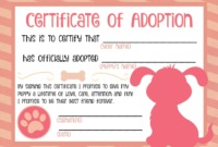 Puppy Adoption Certificate … Party Ideas In … Pertaining To within Fresh Dog Adoption Certificate Template