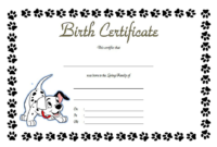 Puppy Birth Certificate Free Printable 5 In 2020 | Birth for Puppy Birth Certificate Template
