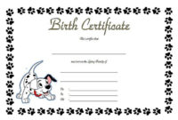 Puppy Birth Certificate Free Printable 5 In 2020 | Birth throughout Unique Dog Birth Certificate Template Editable