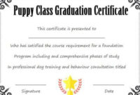 Puppy Class Graduation Certificate Template | Puppy Classes in Unique Dog Training Certificate Template