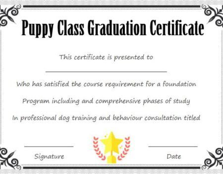 Puppy Class Graduation Certificate Template | Puppy Classes throughout Best Dog Obedience Certificate Template