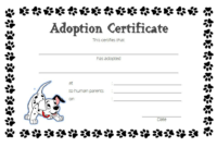 Puppy Dog Adoption Certificate Template Free 2 In 2020 Intended For Pet Adoption Certificate Editable Templates