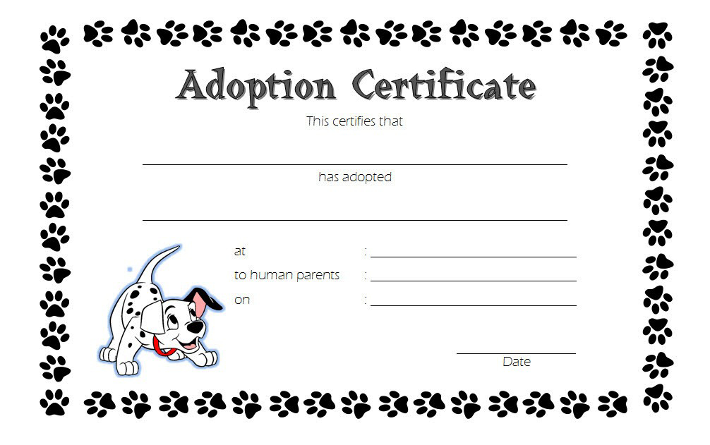 Puppy Dog Adoption Certificate Template Free 2 In 2020 within Dog Adoption Certificate Editable Templates