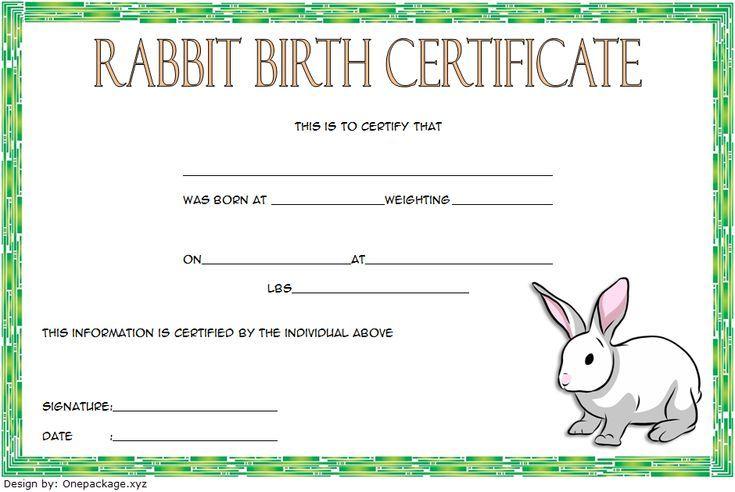 Rabbit Birth Certificate Template Free 1 In 2020 | Birth Intended For Rabbit Birth Certificate Template Free 2019 Designs