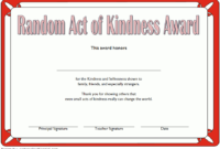 Random Act Of Kindness Certificate Template 01 intended for Kindness Certificate Template Free