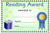Reading Certificate Templates Pdf. Download Fill And Print pertaining to Unique Reader Award Certificate Templates