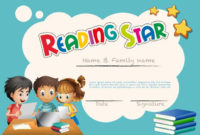 Reading Star Award Template With Children Background with regard to Best Star Reader Certificate Template