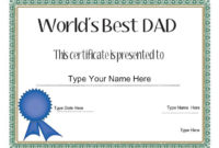 Relationships Certificate – Dad'S Day Certificate – Dad within Fresh Best Dad Certificate Template