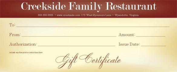 Restaurant Gift Certificate Template (1) - Templates Example In Best Restaurant Gift Certificates Printable
