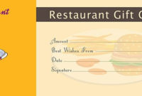 Restaurant Gift Certificate Template – Free Gift Certificate in Best Restaurant Gift Certificates Printable