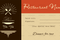 Restaurant Gift Certificate Templates (7+ Editable pertaining to Best Restaurant Gift Certificate Template 2018 Best Designs