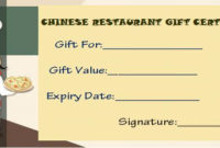 Restaurant Gift Certificate Templates: Gift Tastefully To for Restaurant Gift Certificates Printable