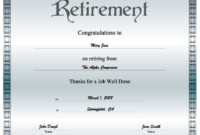 Retirement Certificate Printable Certificate in Unique Free Retirement Certificate Templates For Word
