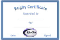 Rugby Certificates With A Blue And White Rugby Ball throughout Best Rugby Certificate Template