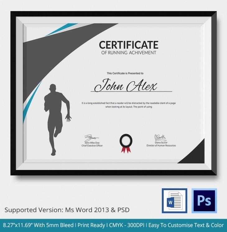 Running Certificate Template - Carlynstudio Inside Running Certificate Templates 10 Fun Sports Designs