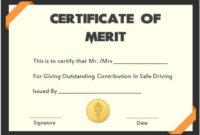 Safe Driver Certificate Of Meritss | Certificate Templates pertaining to Best Certificate Of Merit Templates Editable