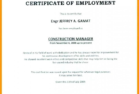 Sample Certificate Of Employment Sample Certificate for Certificate Of Employment Templates Free 9 Designs