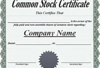 Sample Common Stock Certificate Certificate Template intended for Unique Editable Stock Certificate Template