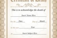 Sample Vertical Death Certificate Template In Cream, Pine intended for Death Certificate Template
