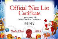Santa Nice List Certificate | Nice List Certificate regarding Unique Santas Nice List Certificate Template Free