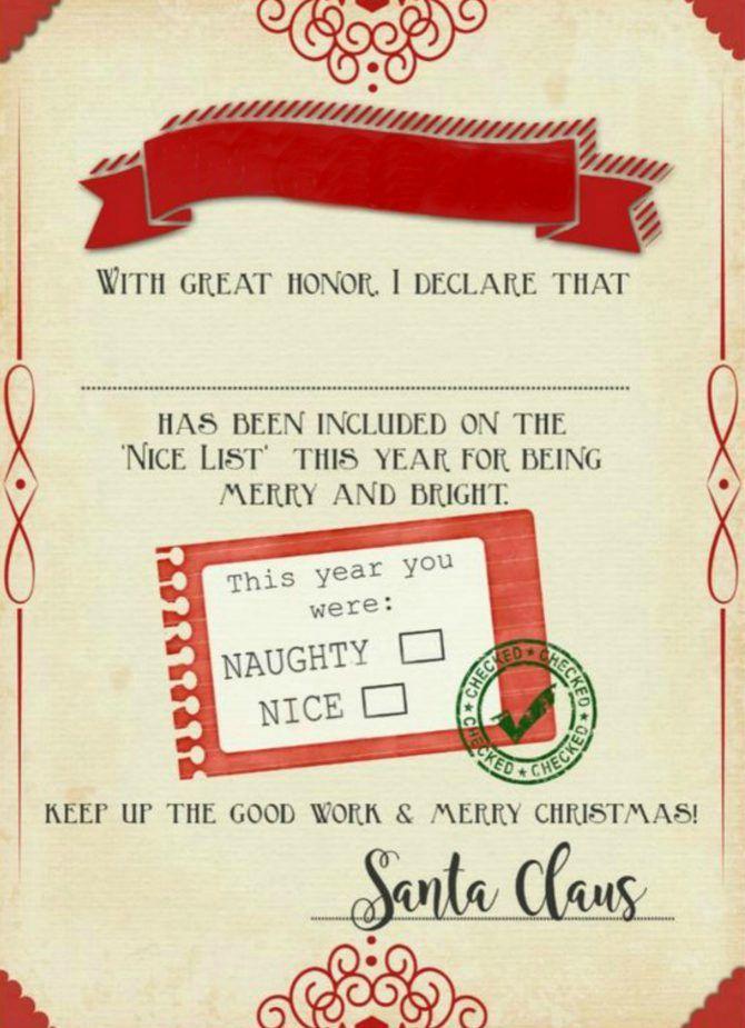 "Santa ""Nice List"" Free Printable Certificate | Christmas Intended For Santas Nice List Certificate Template Free"