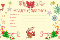 Santaclaus Gift Giving Christmas Gift Certificate In 2020 pertaining to Best Merry Christmas Gift Certificate Templates