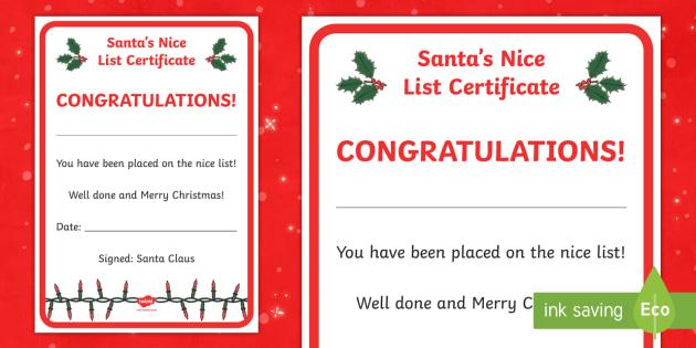 Santa'S Nice List Certificate (Teacher Made) In Santas Nice List Certificate Template Free