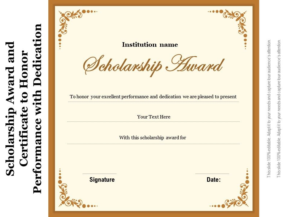Scholarship Award And Certificate To Honor Performance With Inside 10 Scholarship Award Certificate Editable Templates