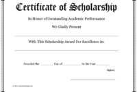 Scholarship Certificate – Download Free Documents For Pdf regarding Scholarship Certificate Template
